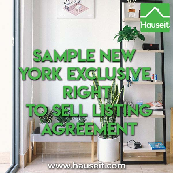 Sample New York Exclusive Right To Sell Listing Agreement NYC