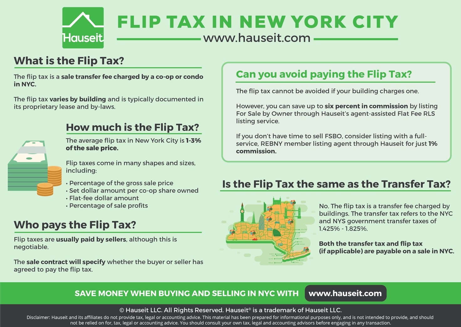 The flip tax in NYC is a transfer fee charged by co-ops and some condos, while the transfer tax is a city and state government transfer tax payable on all sales in NYC.
