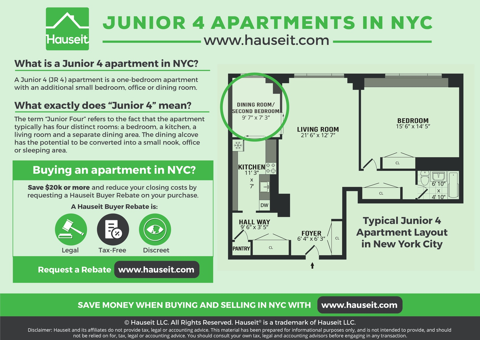 "The typical Junior Four apartment layout in NYC consists of a one-bedroom apartment with an additional small bedroom, office or dining room. The term ""Junior Four"" refers to the fact that the apartment typically has four distinct rooms: a bedroom, a kitchen, a living room and a separate dining area. The dining alcove has the potential to be converted into a small nook, office or sleeping area."