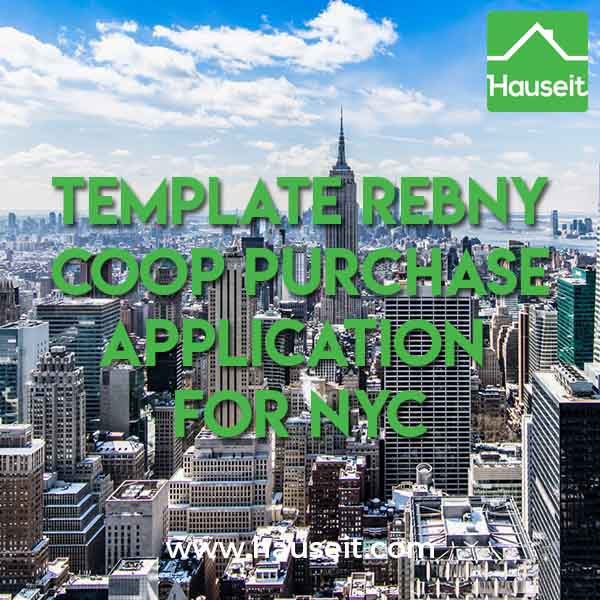 Template REBNY Co-op Purchase Application for New York City
