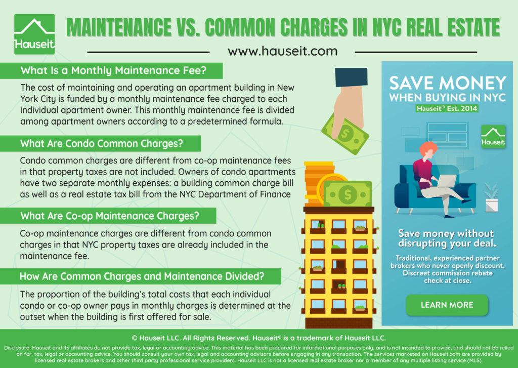 What's the difference between monthly condo common charges and co-op maintenance fees in NYC?