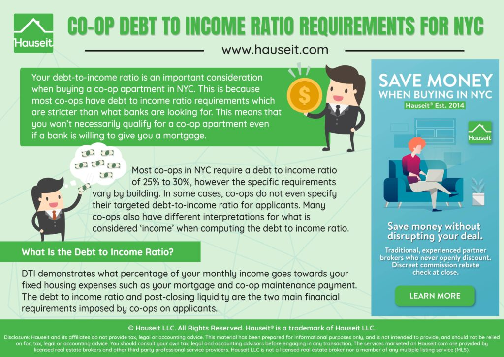 What Is the Minimum Debt to Income Ratio Required When Buying a Co-op Apartment in NYC?