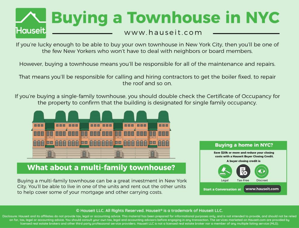 If you're lucky enough to be able to buy your own townhouse in New York City, then you'll be one of the few New Yorkers who won't have to deal with neighbors or board members.