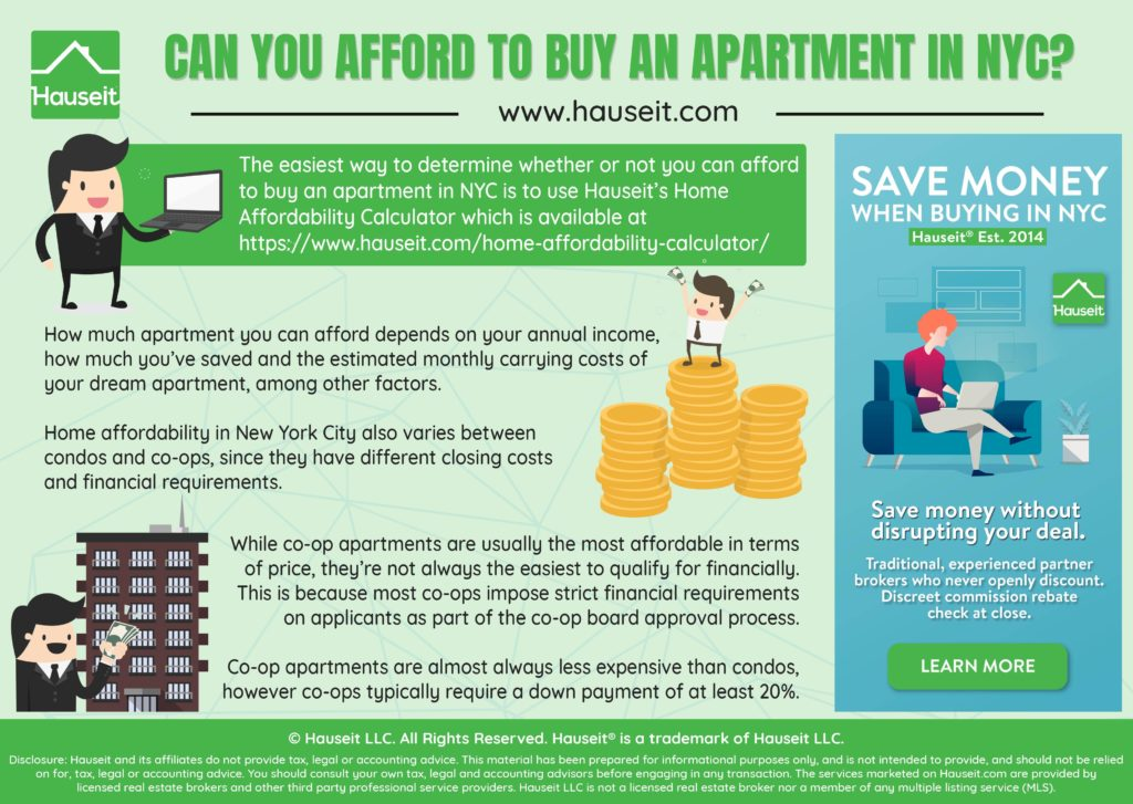 The easiest way to determine whether or not you can afford to buy an apartment in NYC is to use Hauseit's Home Affordability Calculator