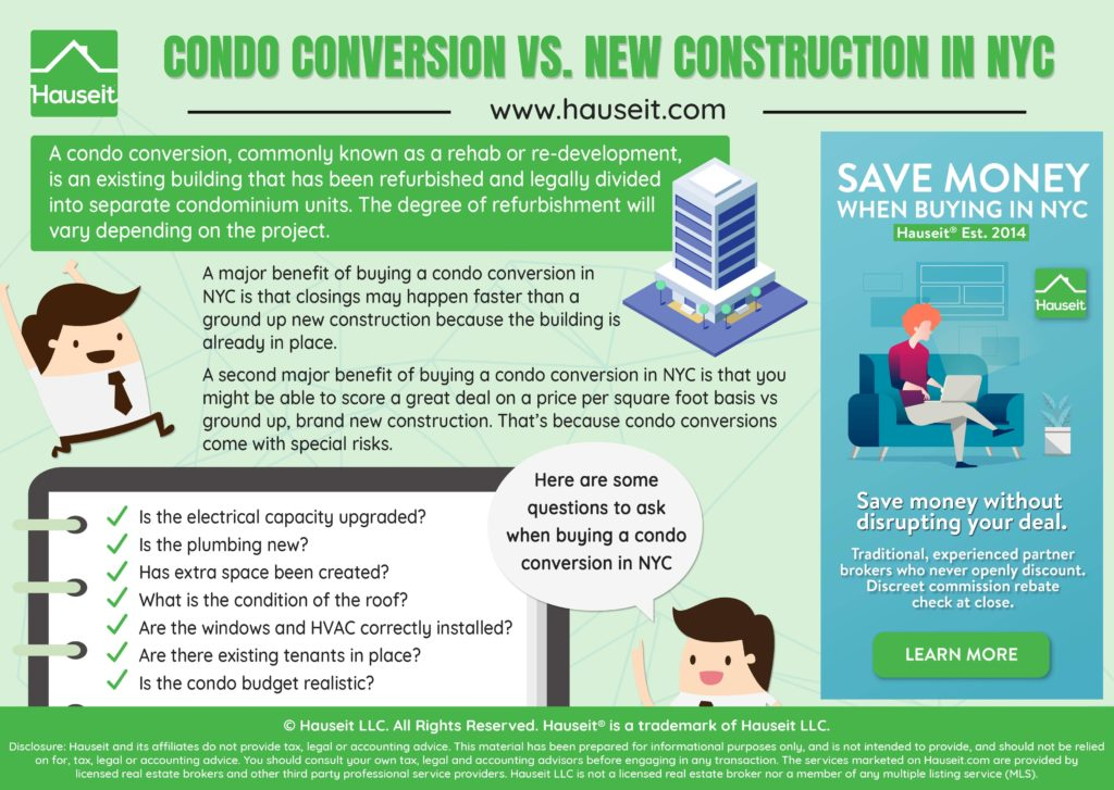 Buying a condominium conversion, rehabilitation or re-development is very different from buying a new construction condo in New York City.