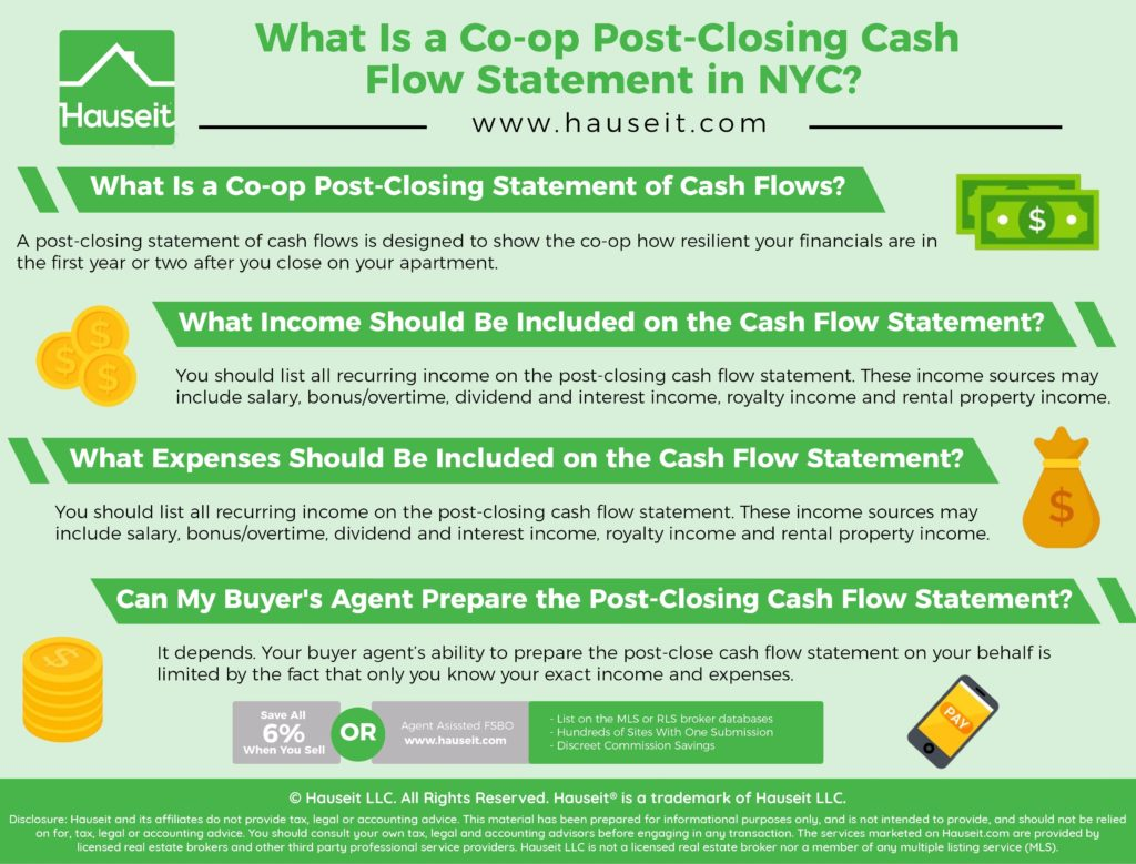A post-closing statement of cash flows is designed to show the co-op how resilient your financials are in the first year or two after you close on your apartment.