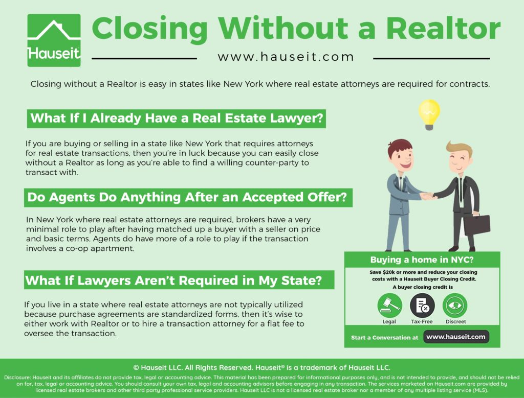 Closing without a Realtor is easy in states like New York where real estate attorneys are required for contracts.