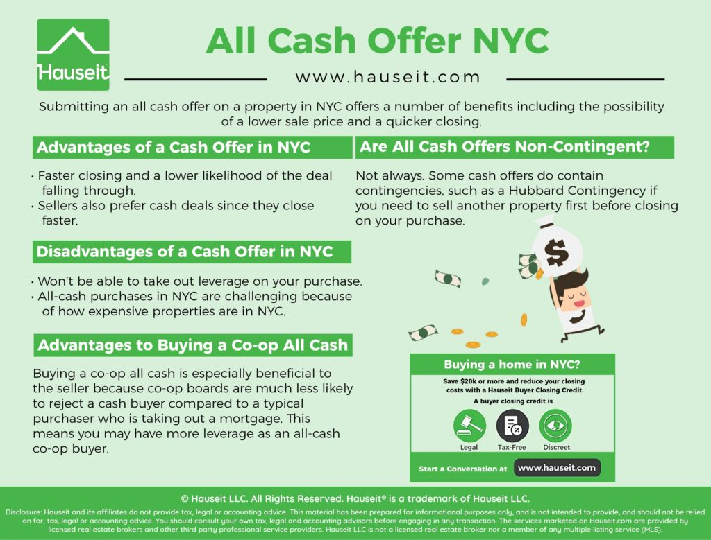 Submitting an all cash offer on a property in NYC offers a number of benefits including the possibility of a lower sale price and a quicker closing.