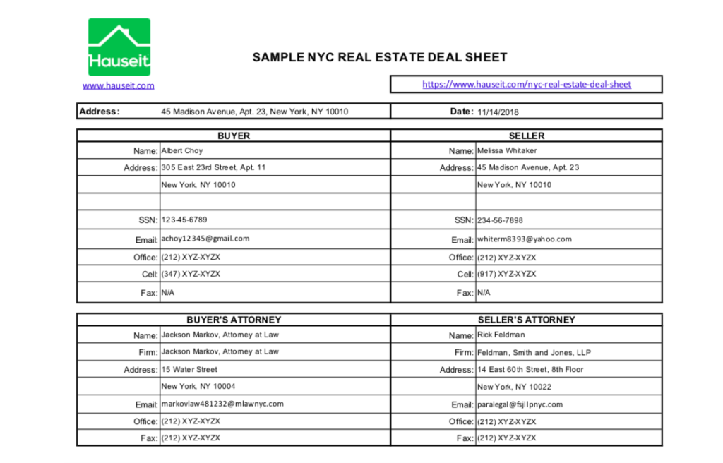 A real estate deal sheet in NYC is prepared once there's an accepted offer. It contains the proposed deal terms and contact details of buyer, seller, brokers and lawyers.