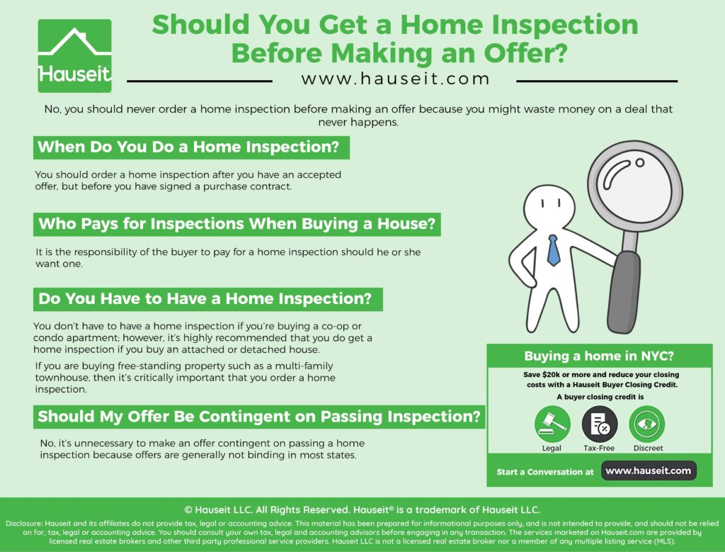 No, you should never order a home inspection before making an offer because you might waste money on a deal that never happens.