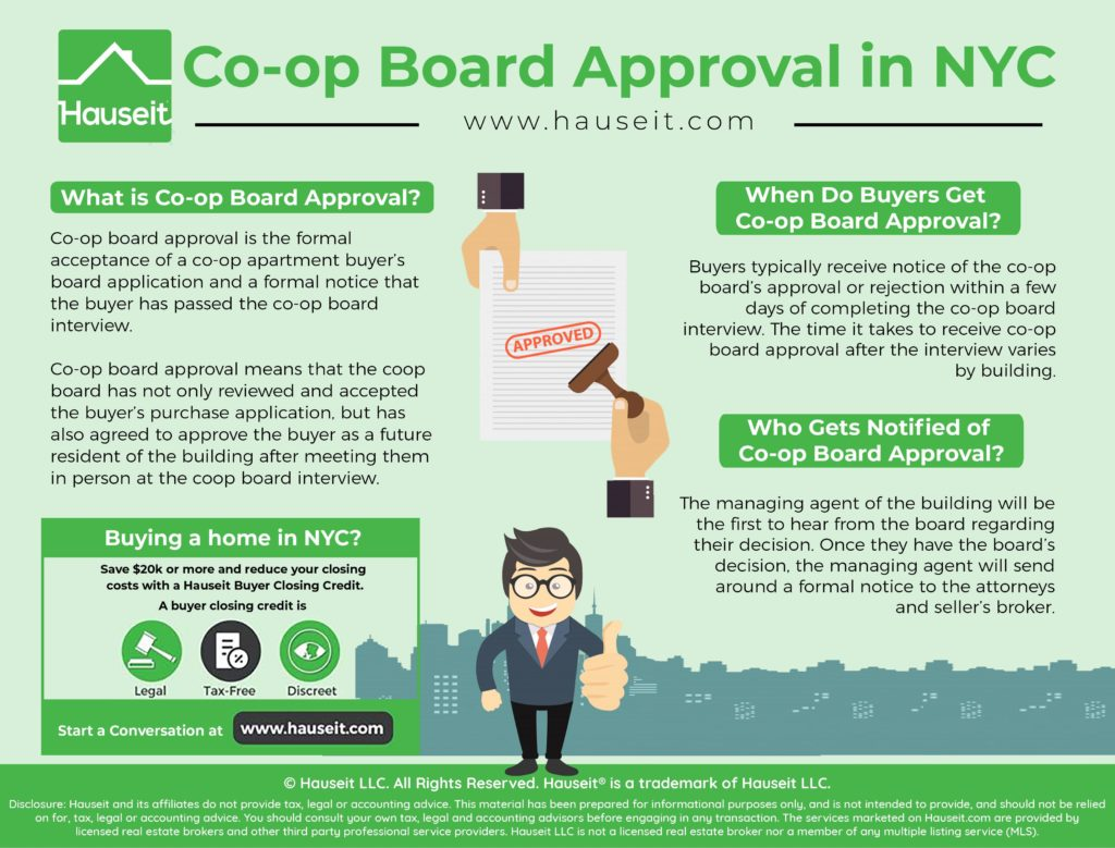 Co-op board approval is the formal acceptance of a co-op apartment buyer's board application and a formal notice that the buyer has passed the co-op board interview.