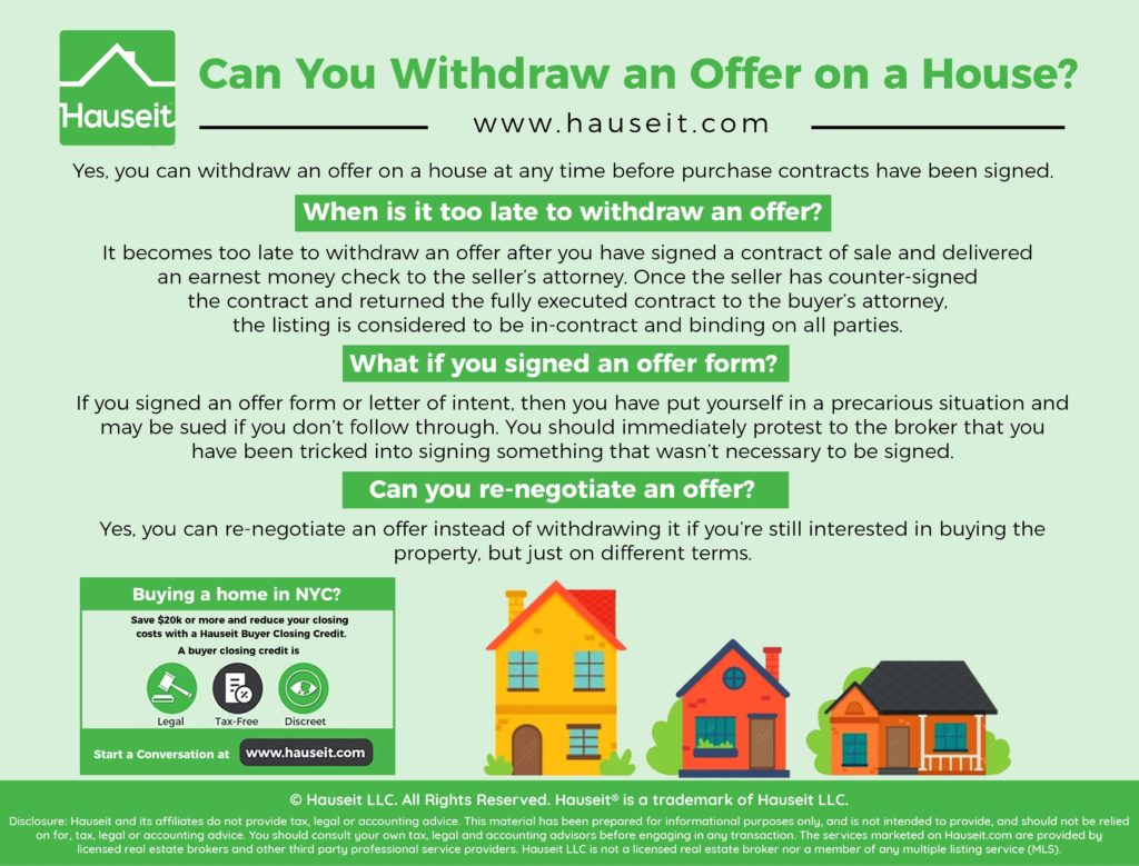 Yes, you can withdraw an offer on a house at any time before purchase contracts have been signed.