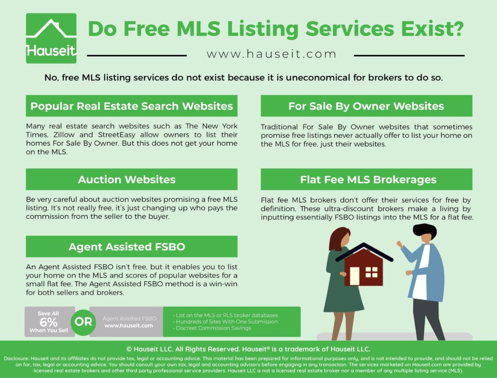 Free MLS listing services do not exist because it is uneconomical for brokers to do so.
