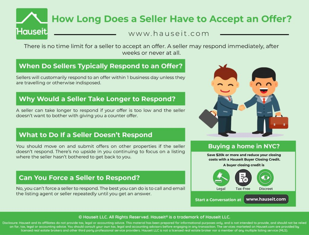 There is no time limit for a seller to accept an offer. A seller may respond immediately, after weeks or never at all.