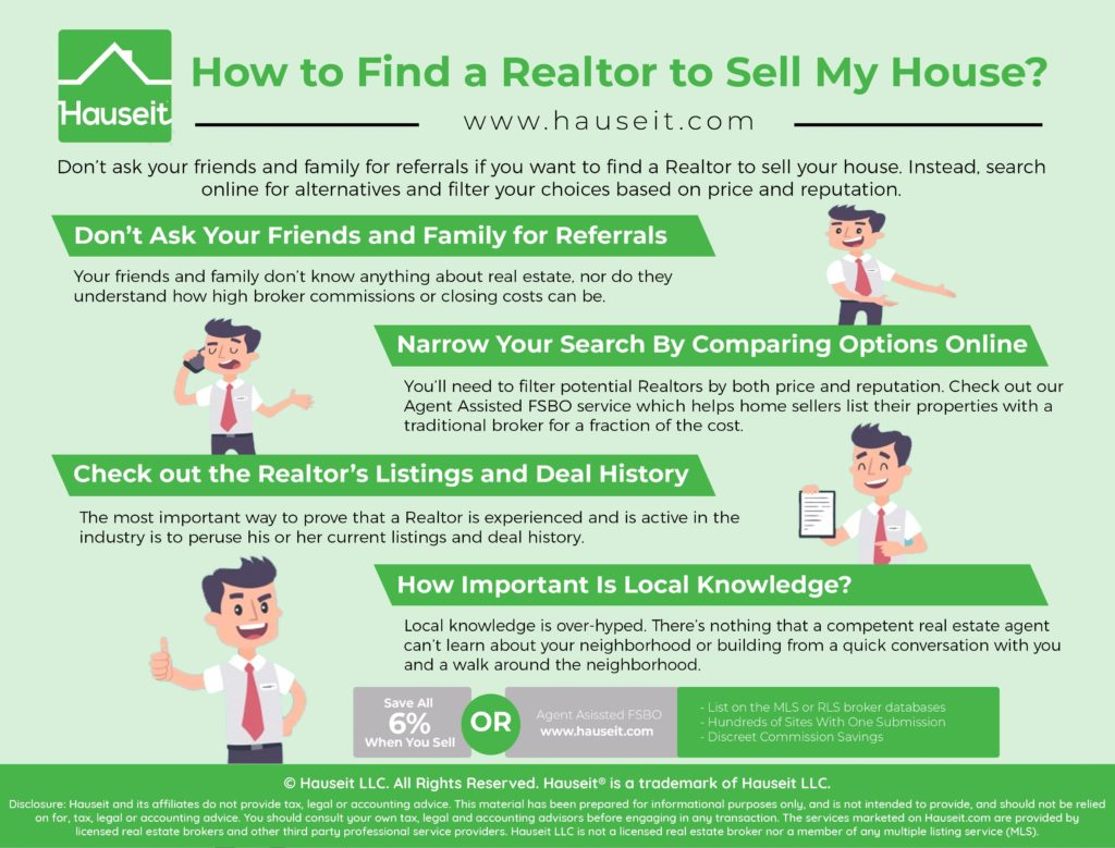 Don't ask your friends and family for referrals if you want to find a Realtor to sell your house. Instead, search online for alternatives and filter your choices based on price and reputation.