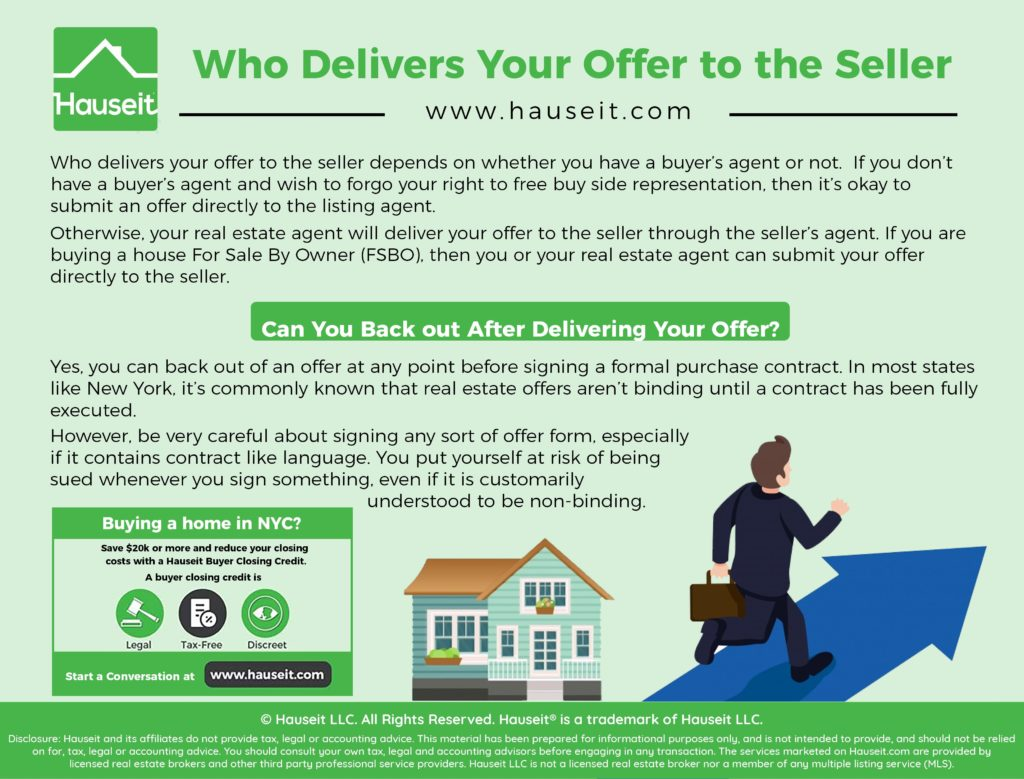 Who delivers your offer to the seller depends on whether you have a buyer's agent or not.