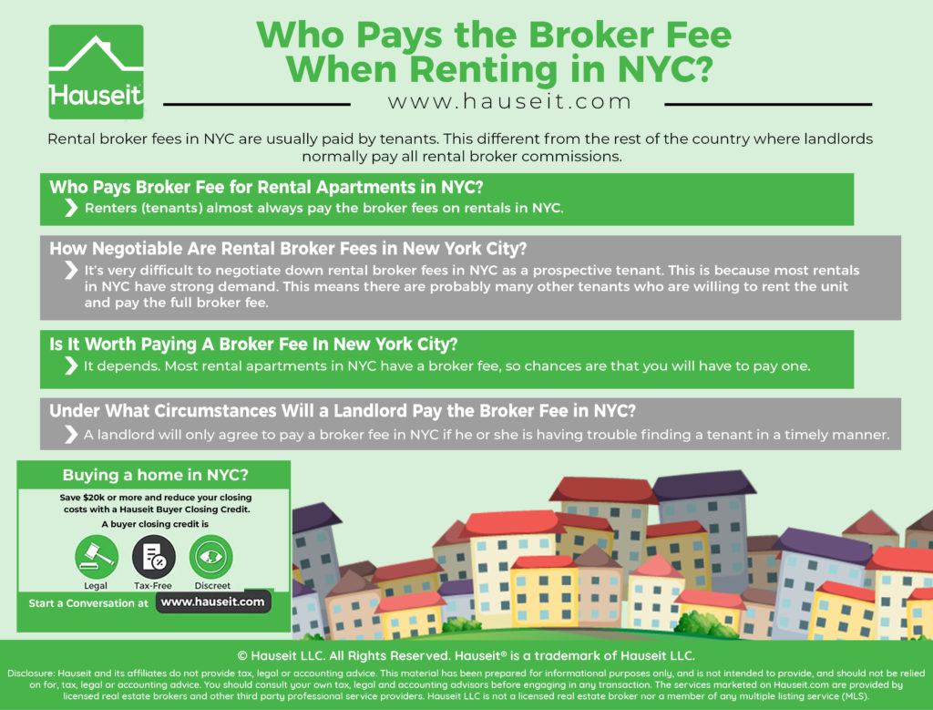 Rental broker fees in NYC are usually paid by tenants instead of landlords. This is the opposite of what happens in the rest of the country, whereby landlords normally pay rental broker commissions.