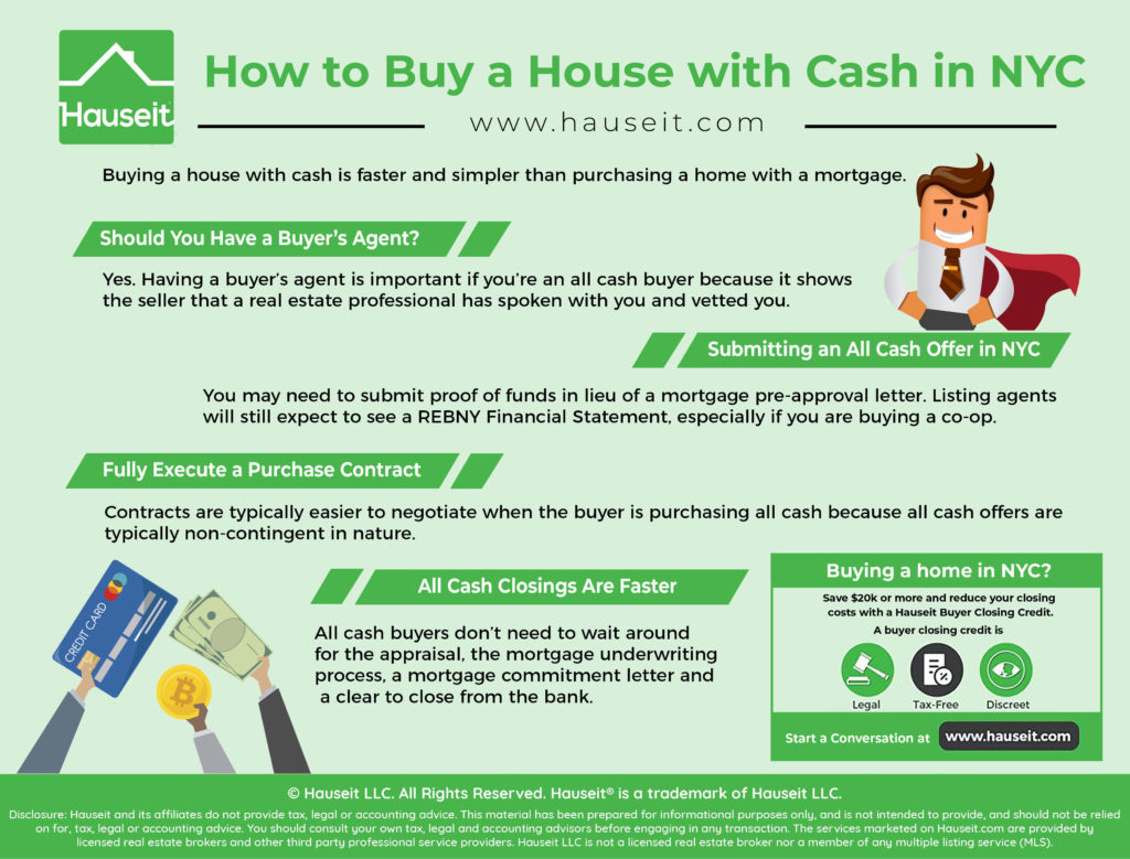 Buying a house with cash is faster and simpler than purchasing a home with a mortgage. All cash buyers won't have to deal with the loan approval process and can often close in under 30 days vs 60 to 90 days if financing.