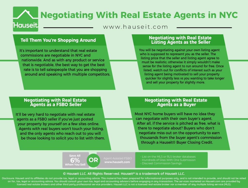 What are some tips for negotiating with real estate agents in NYC? How should sellers negotiate with their own listing agents? How should FSBO sellers negotiate with real estate agents? We'll discuss all this and more in the following article on negotiating with real estate agents in NYC.