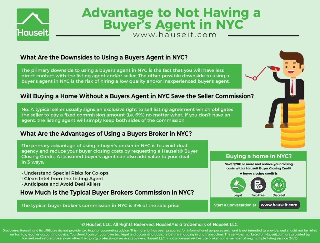 There is little advantage to not having a buyer's agent in NYC. Sellers in NYC typically do not pay any less in total commission if a buyer is unrepresented.