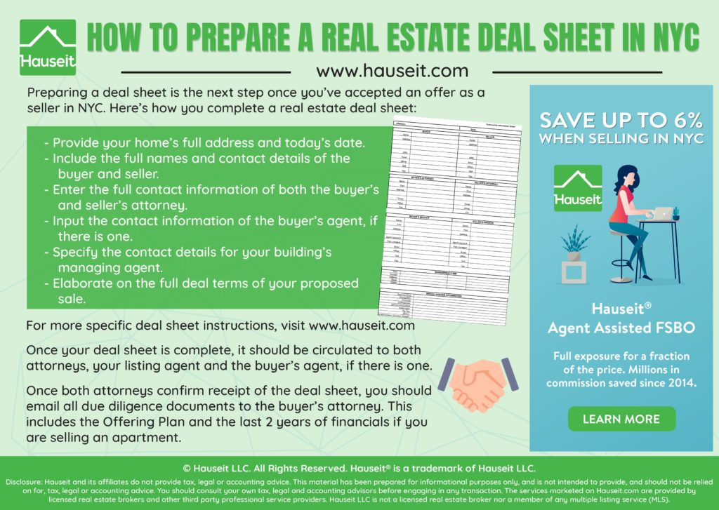 A real estate deal sheet is typically prepared and circulated once there's an accepted offer on a property in NYC. The deal sheet itself is a non-binding summary of all the terms of a real estate transaction, such as the price, contingencies and the amount of financing.