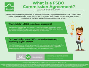 A FSBO commission agreement is a bilateral contract signed between a FSBO seller and a broker representing a buyer which will obligate a FSBO seller to pay an agreed upon commission if a deal is consummated with the buyer.