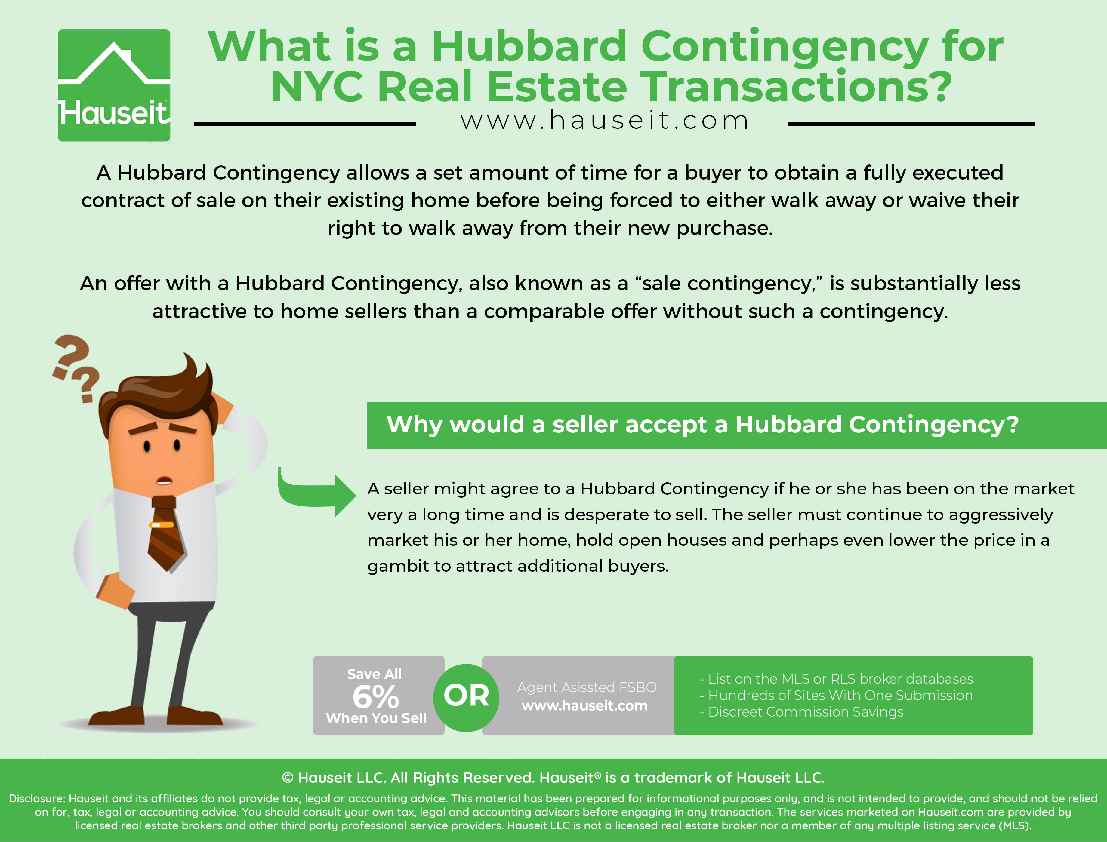 A Hubbard Contingency allows a set amount of time for a buyer to obtain a fully executed contract of sale on their existing home before being forced to either walk away or waive their right to walk away from their new purchase.