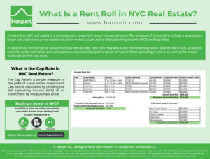A rent roll in NYC real estate is a summary of a property's rental income streams. The purpose of a rent roll is to help a prospective buyer calculate various real estate valuation metrics, such as the Net Operating Income (NOI) and Cap Rate.