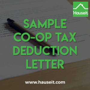 What does a Sample Co-op Tax Deduction Letter look like? Is this the same as the Form 1098 your co-op must mail you for tax season?