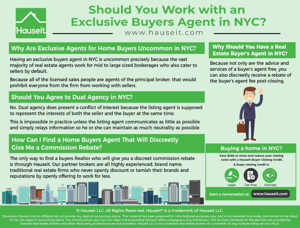 We'll explain in this article why having a buyers advocate who doesn't have any sell side listings is an unnecessary precaution and why it's quite uncommon to have an exclusive buyers agent in NYC.