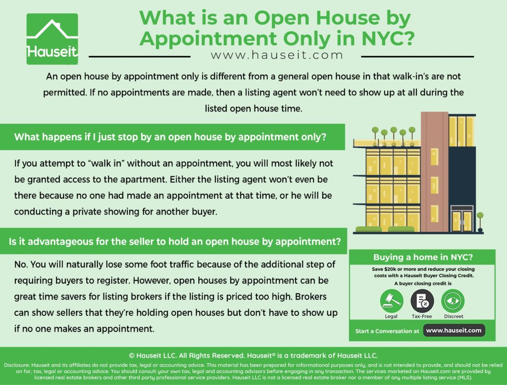 An open house by appointment only is different from a general open house in that walk-in's are not permitted. If no appointments are made, then a listing agent won't need to show up at all during the listed open house time.
