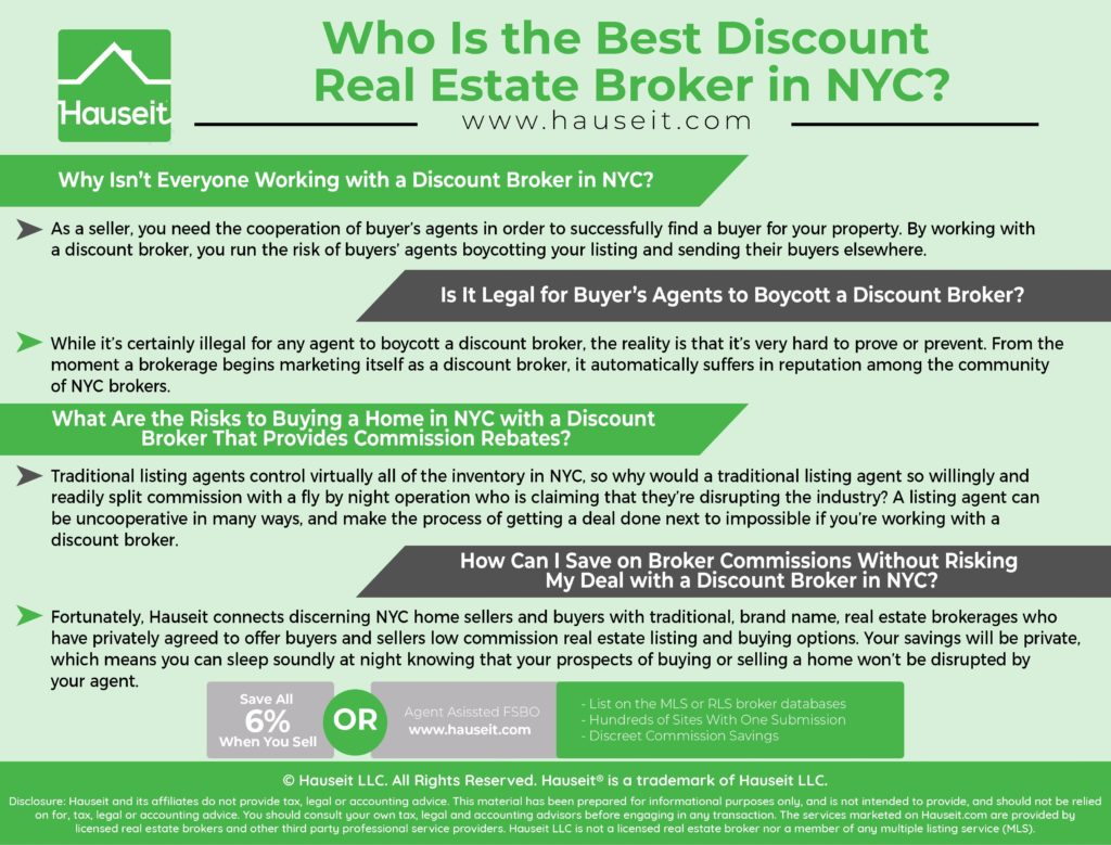 NYC sellers who aren't interested in paying 6% or selling FSBO often consider working with a discount real estate broker.