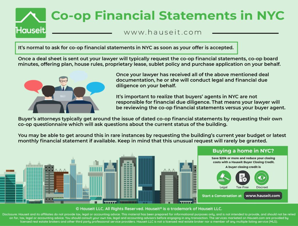 What do sample co-op financial statements in NYC look like? Who's responsible for reviewing them on your behalf? What can you learn from reading them?