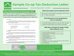 Co-op owners in NYC (also known as shareholders) typically receive an annual co-op tax deduction letter in the mail each year which specifies how much of a tax deduction each owner can take on their personal income tax returns. This letter is also referred to as a Form 1098.
