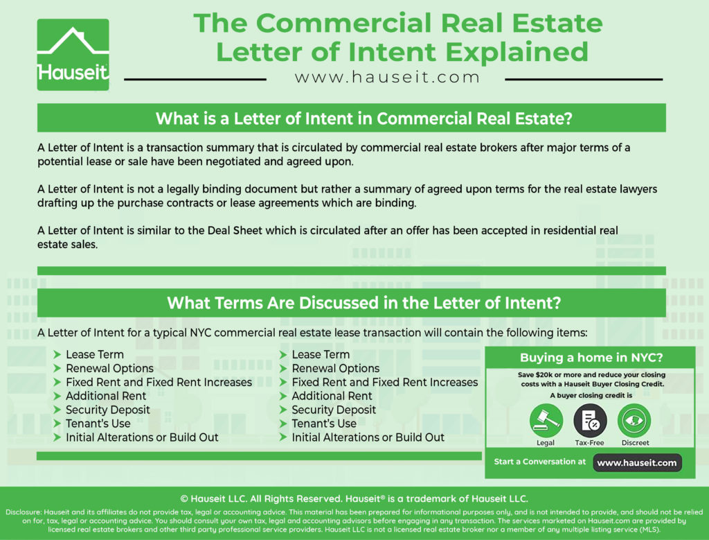A Letter of Intent is a transaction summary that is circulated by commercial real estate brokers after major terms of a potential lease or sale have been negotiated and agreed upon.