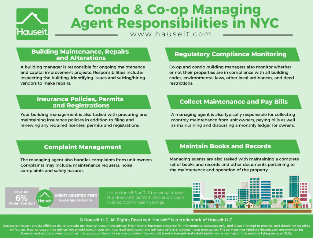 The responsibilities of building management include building maintenance, regulatory compliance monitoring, procuring and maintaining insurance policies and registrations, collecting maintenance and paying bills, handling owner complaints and maintaining books and records.