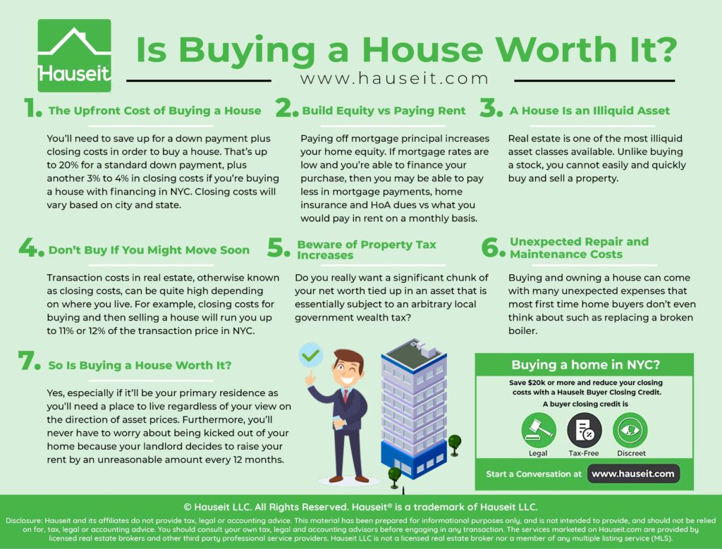 Buying a house is worth it if you have enough savings for a down payment plus closing costs, and rates are low enough such that your all in housing expenses are roughly the same or less than what you're paying in rent every month.