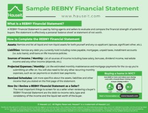 A REBNY Financial Statement is used by listing agents and sellers to evaluate and compare the financial strength of potential buyers. The statement is effectively a personal 'balance sheet' or statement of net worth.