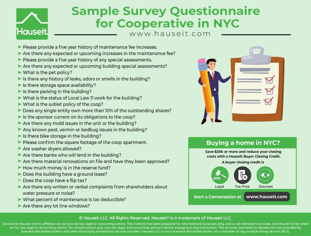 Explanation of questions typically asked of a coop's managing agent plus a sample survey questionnaire for cooperative apartment purchases in NYC.