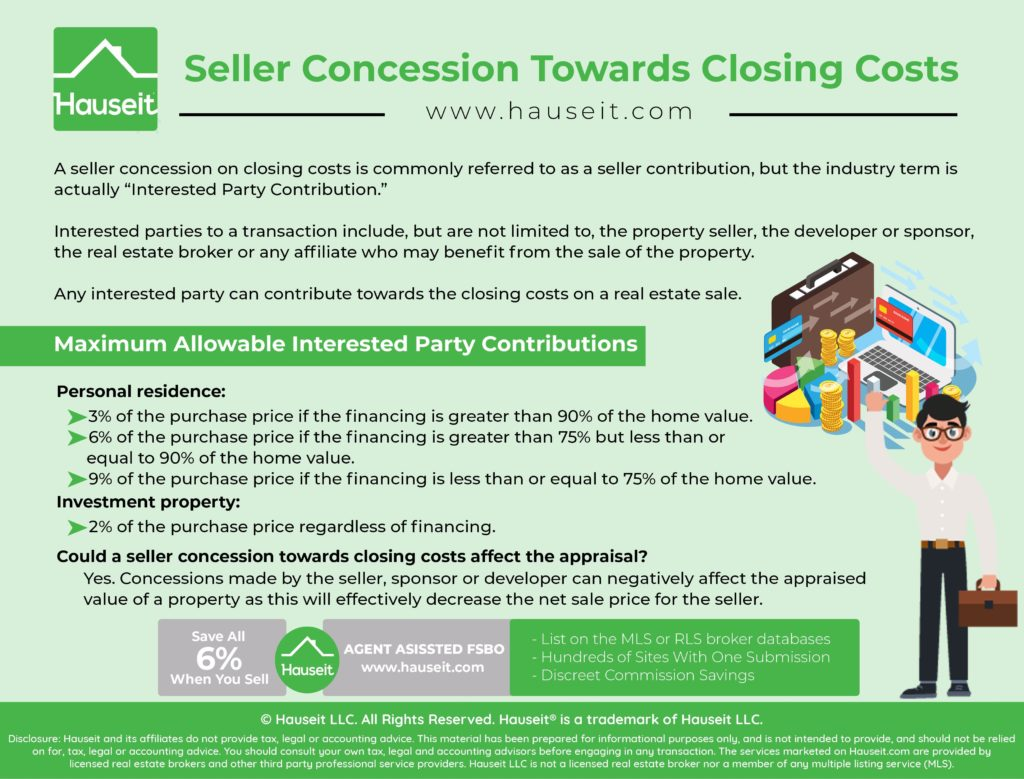 "A seller concession on closing costs is commonly referred to as a seller contribution, but the industry term is actually ""Interested Party Contribution."""