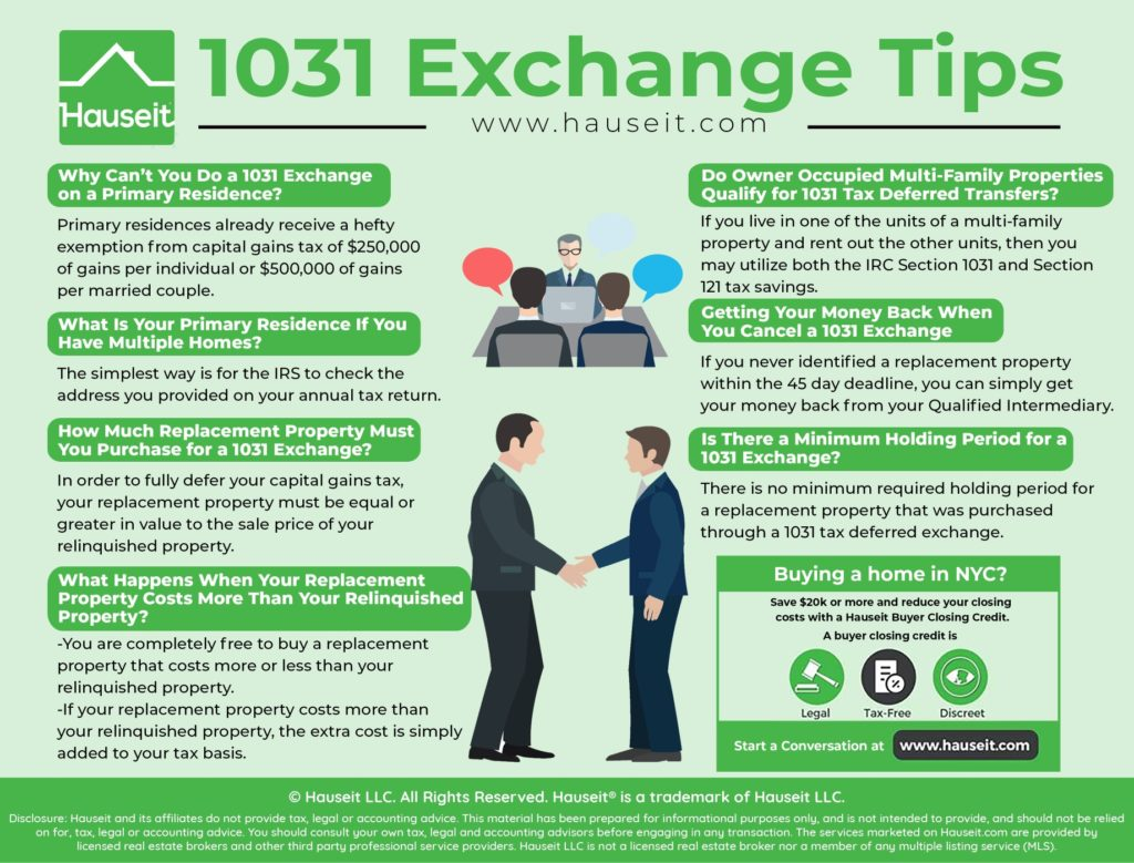 A 1031 Exchange, also known as a like kind exchange or 1031 tax deferred exchange, is a great way for investors to defer the payment of Federal and State capital gains taxes by buying a new property with the sale proceeds of their old property.