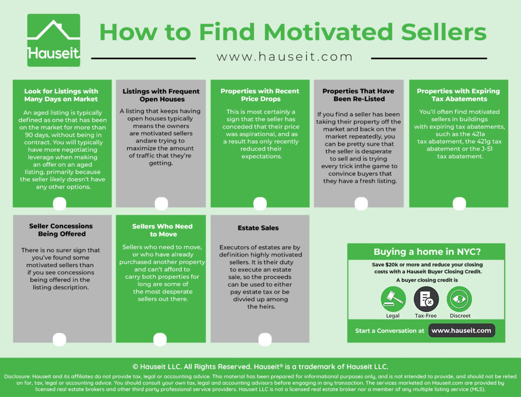 Telltale signs of motivated sellers include many days on market, expiring tax abatements & recent price drops. Learn how to find motivated sellers & more.