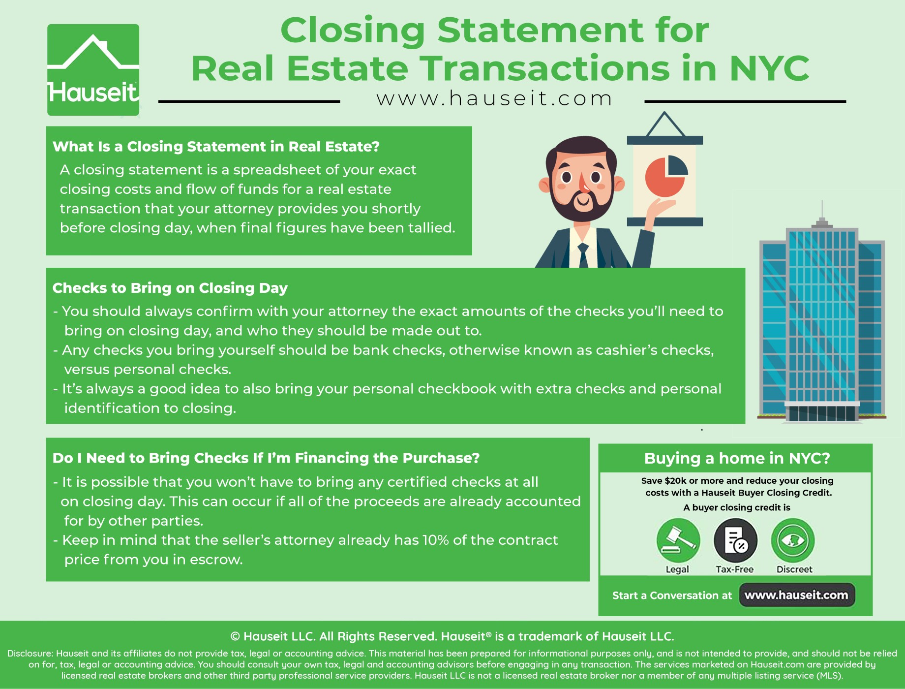 What is a real estate closing statement? What does a closing statement for an apartment purchase in NYC look like? What checks do I need to bring on closing day? We'll go through a sample real estate closing statement with you in this article and explain what you'll need to do before closing day.