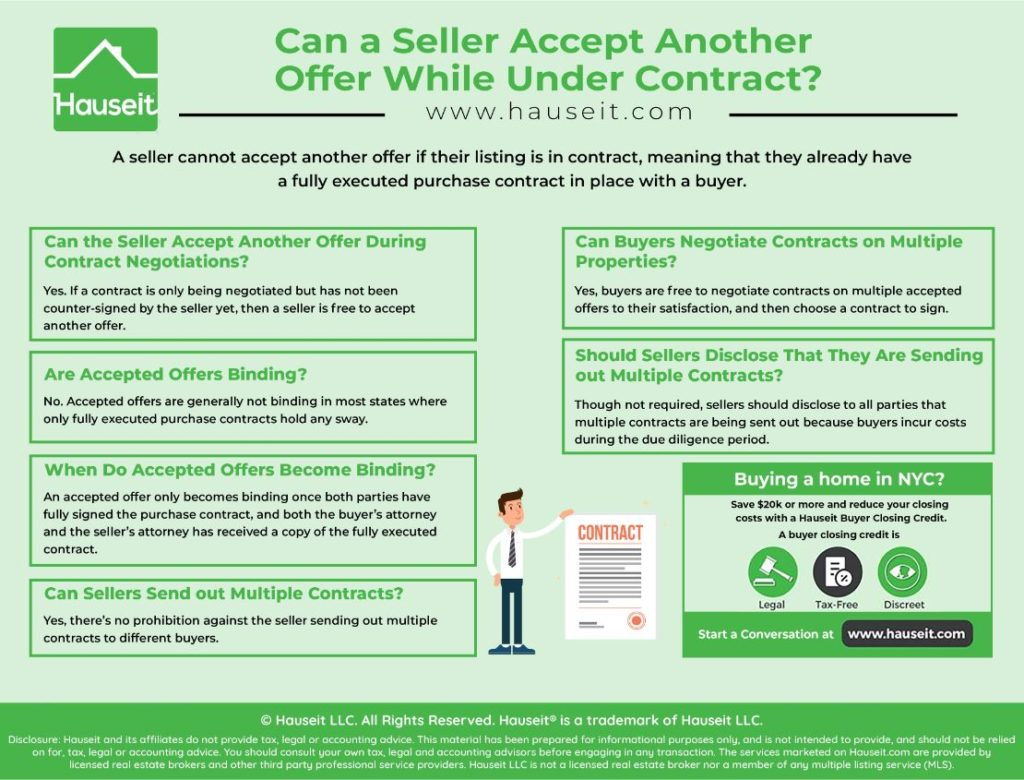A seller cannot accept another offer if their listing is in contract, meaning that they already have a fully executed purchase contract in place with a buyer.