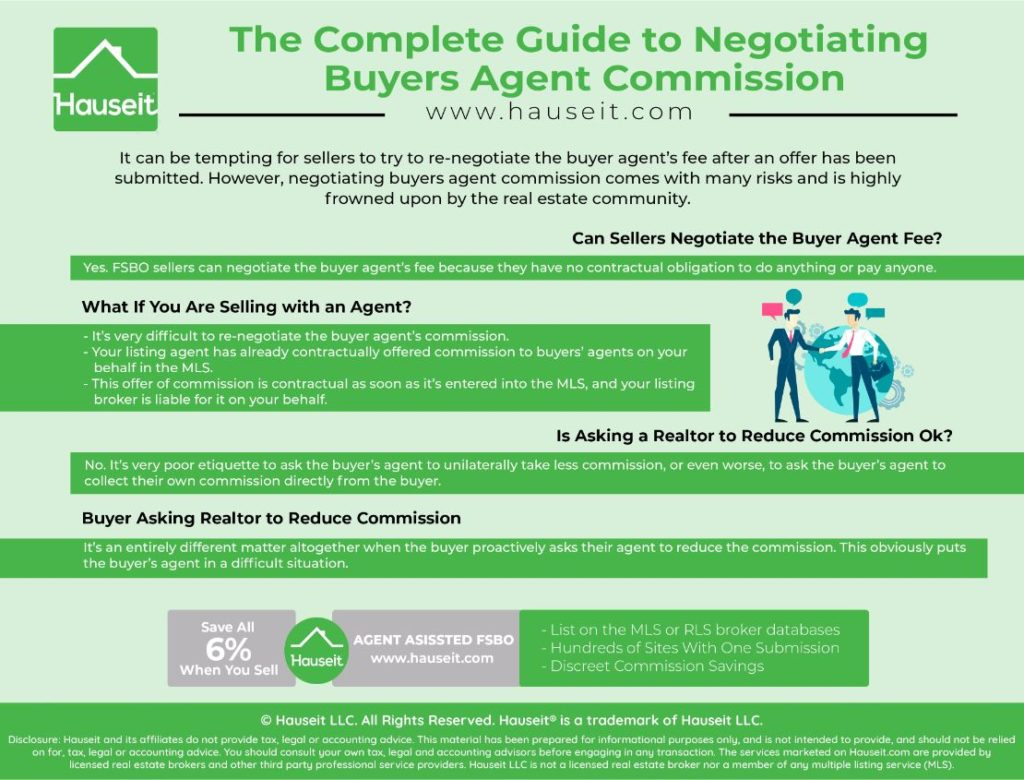 It can be tempting for sellers to try to re-negotiate the buyer agent's fee after an offer has been submitted.
