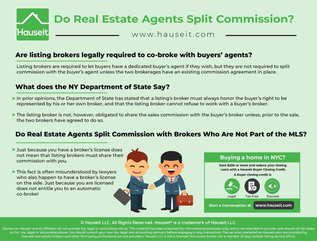 Are listing brokers legally required to co-broke with buyers' agents? Do real estate agents split commission with each other in New York State and NYC?