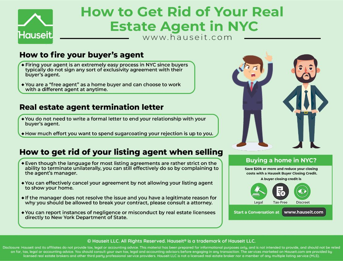 With over 30,000 licensed real estate agents in Manhattan alone, there are bound to be a few bad apples. We'll explain in this article how to get rid of your real estate agent in NYC so you can work with someone else.