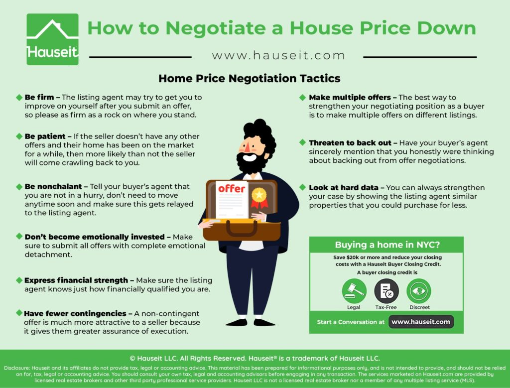 Learning how to negotiate a house price down involves learning how to be firm, patient, nonchalant and not emotionally invested during the offer negotiation process.