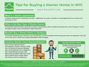 Buying a starter home in NYC typically means purchasing a smaller condo or co-op apartment with up to one bedroom.