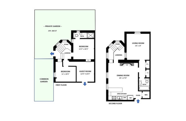 A sample custom floorplan done by the Hauseit team of a duplex apartment with outdoor space in NYC.